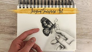 Butterfly on Hand / How to draw easy butterfly and hand / Ingrid Surprise Art