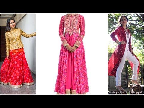 Latest Bandhej Print Design Dresses  For Girls