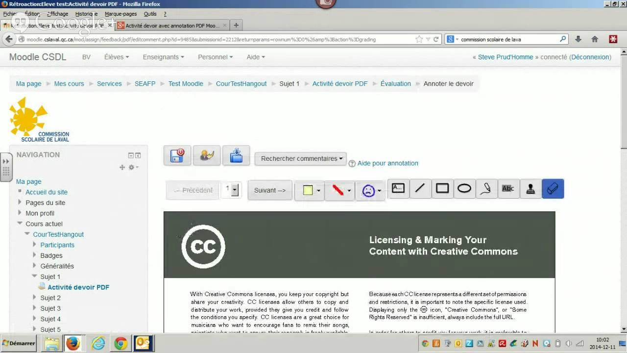 Activité devoir avec annotations PDF Moodle 2 6 3+