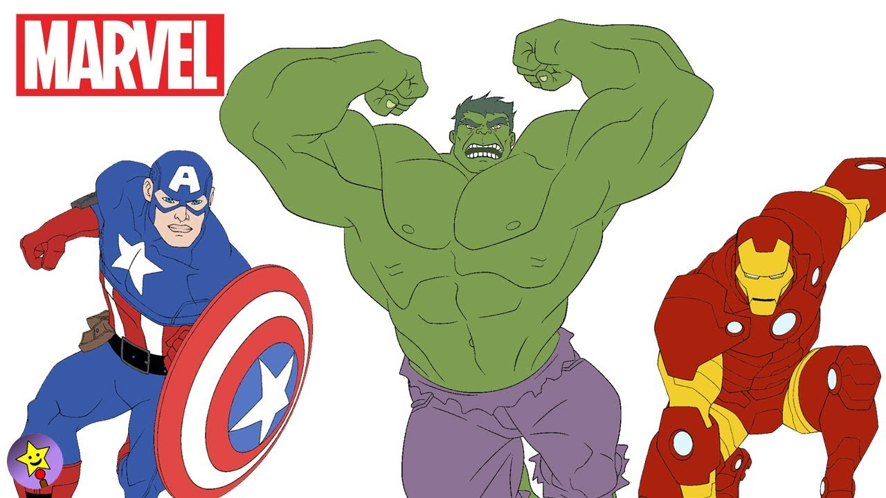 Marvel Avengers Coloring Book Hulk Captain America Iron