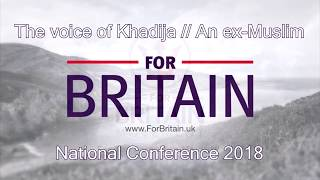 An ex-Muslim gives a talk at the For Britain National Conference 2018