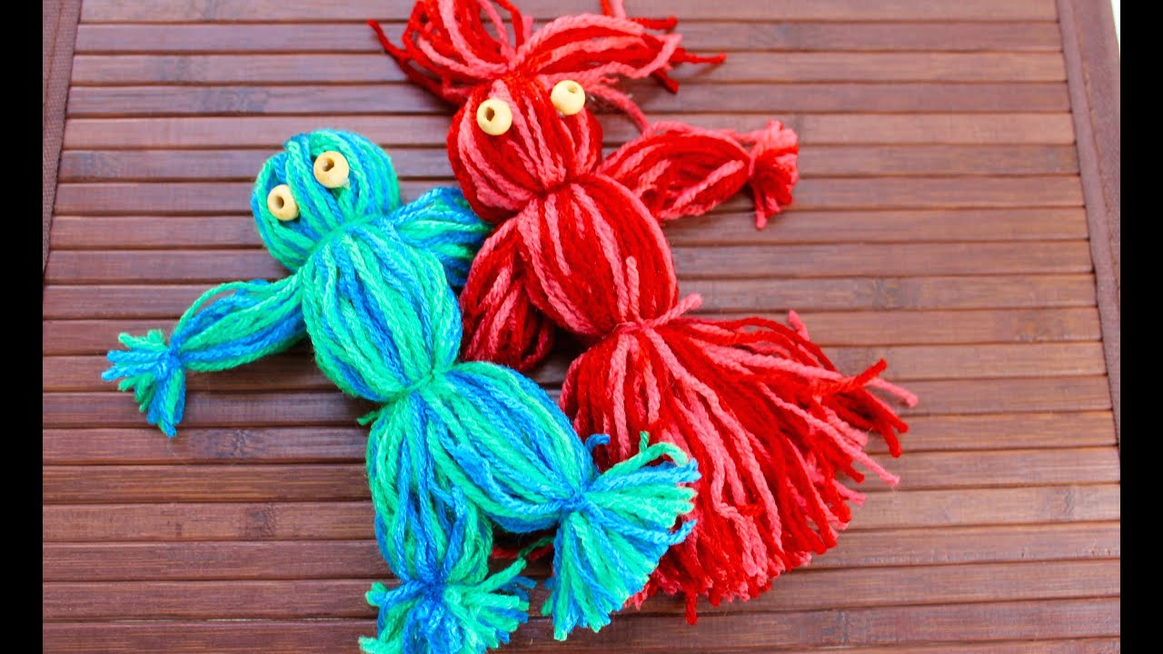 Easy craft how to make a yarn doll youtube for How to make craft