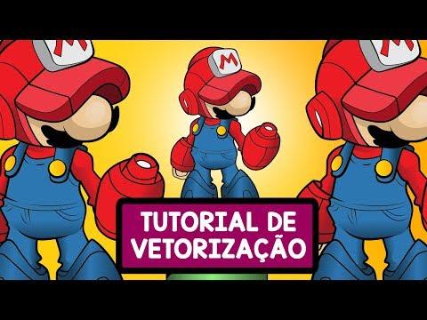 Adobe Illustrator: Vetorizando Mario Megaman (pintura com live paint bucket) baldinho but thumbnail