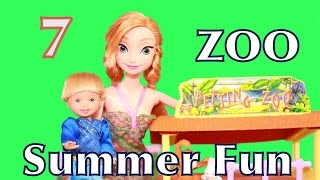 Play-Doh Frozen Anna Kids ZOO Summer FUN Day 7 Barbie Kelly Petting Zoo Disney AllToyCollector