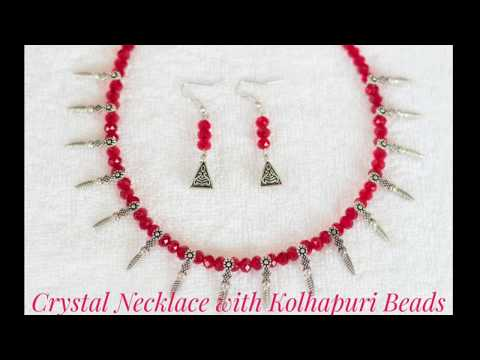 RED CRYSTAL NECKLACE WITH KOLHAPURI BEADS ||RED BEADED NECKLACE ||KOLHAPURI BEADS ||BONGGIRL'S CRAFT
