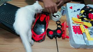 Destructed Toy Car Fix up using Tools in my Toy Garage Tom ToysReview