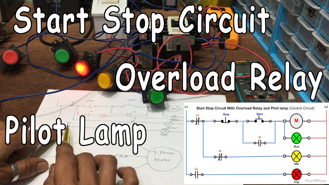 Start Stop Circuit with Thermal Overload Relay and Pilot Lamp ... on