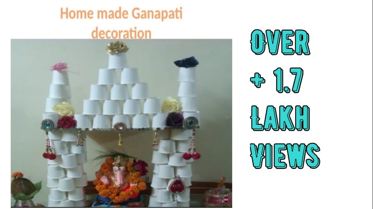 Easy home made ganapati decoration youtube for Decoration items made at home