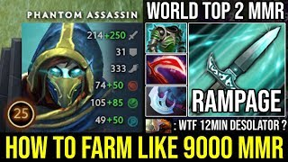 How to Fast Farm Like a 9000 MMR | 12Min Desolator + Rampage & 1Shot Deleted by Top 2 Rank DotA 2 PA