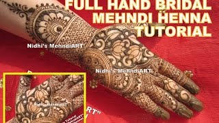 Latest NEW Traditional Full Front Hand Bridal Wedding Henna Mehndi Design Tutorial