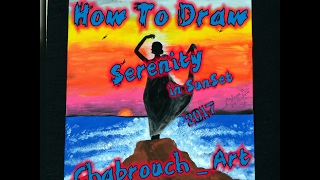 How To Draw Serenity in SunSet with Acrylic _ Speed Drawing 2017 HD(Chabrouch)
