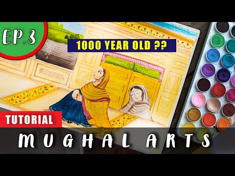 MUGHAL Painting Techniques|| Mughal Painting Tutorial for beginners 100%