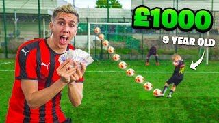 £1000 FOOTBALL CHALLENGES VS 9 YEAR OLD MESSI