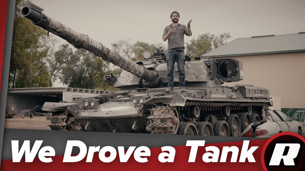 We drove a tank, fired the cannon and crushed a car!