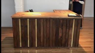 Pallet wood Reception Desk with Brass & IKEA ??