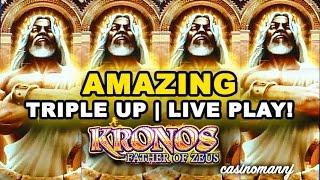 KRONOS FATHER OF ZEUS SLOT - AMAZING! - TRIPLE UP! - LIVE PLAY - Slot Machine Bonus