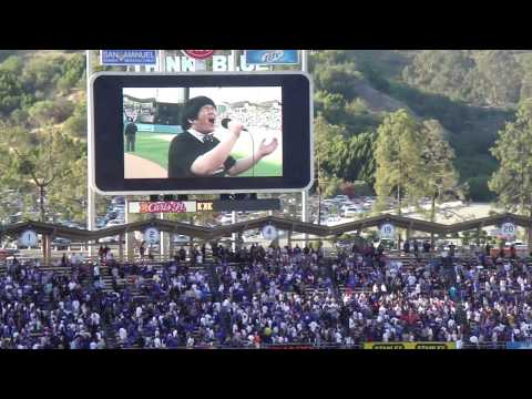 "Lin Yu Chun sings ""God Bless America"" at Dodger Stadium"