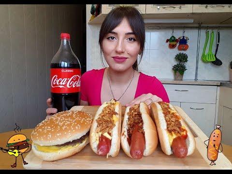MUKBANG | Хот-доги, бургер, кола | Hot Dogs, Burger, Cola| Eating Show| 먹방 не ASMR