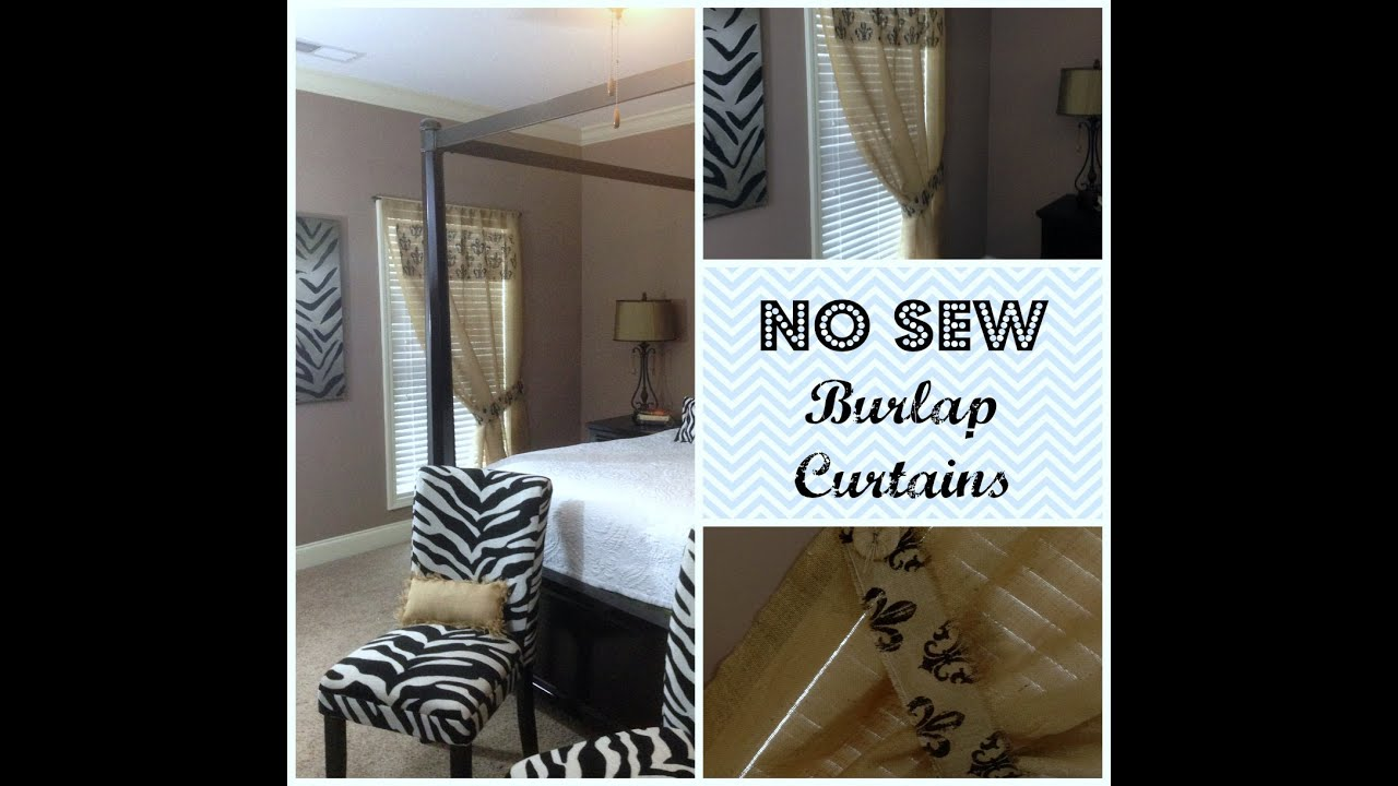 No Sew Burlap Curtains