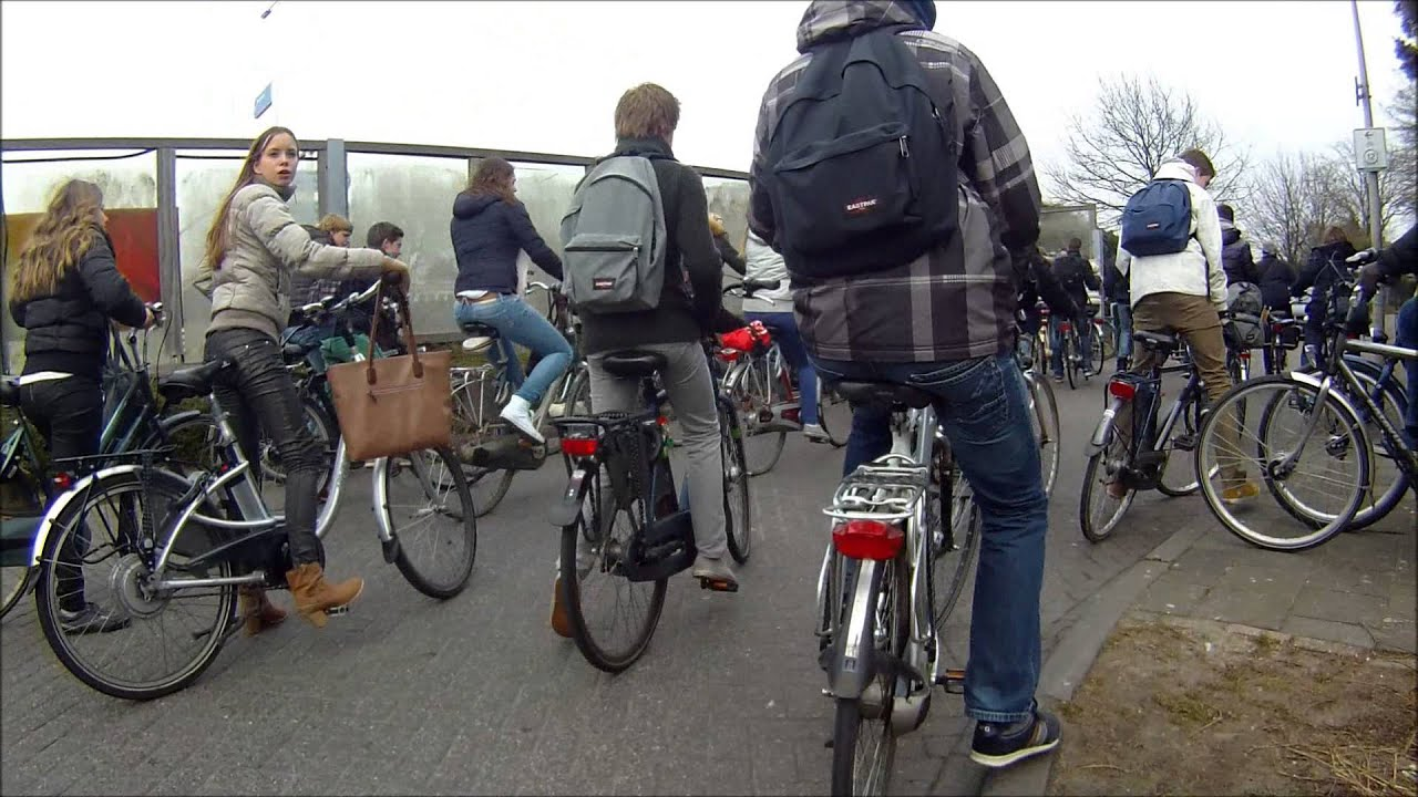 Bycicle Lights Meanwhile in The Netherlands... Cycling traffic jam ...