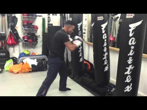 Robin Reid world champion boxer pad work and heavy bag