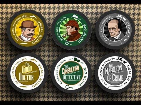 Collectable Sherlock Holmes Poker Dealer Button + Blinds