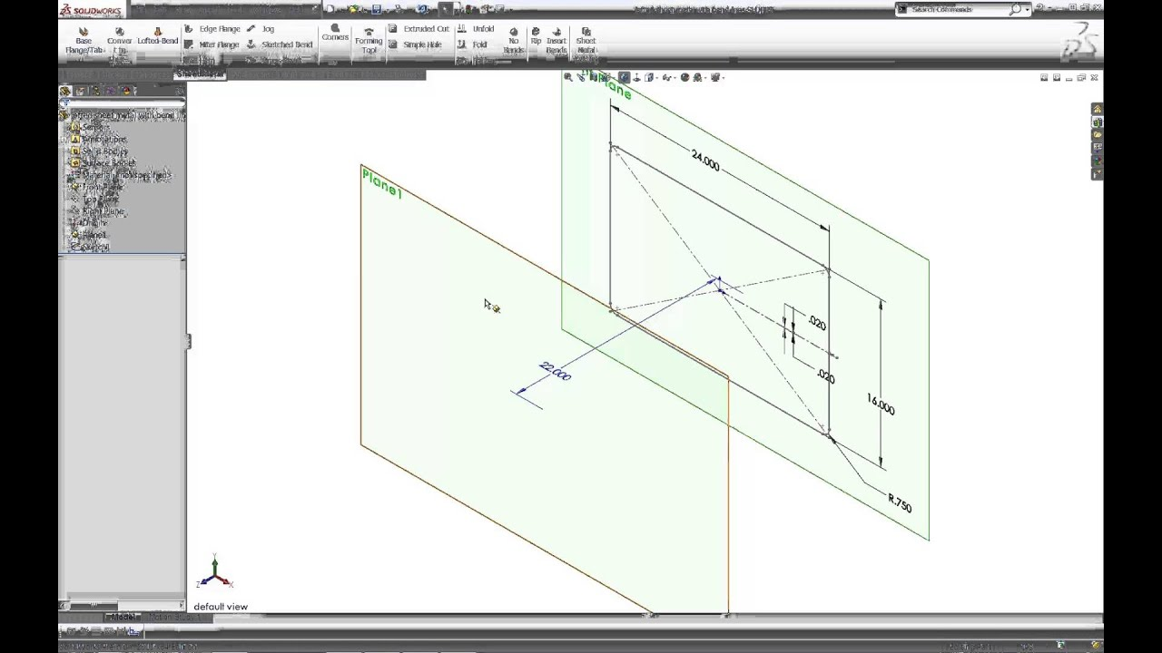 Solidworks Bend Lines With Lofted Sheet Metal Youtube