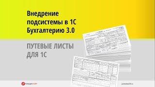 Внедрение подсистемы Путевые листы в 1С Бухгалтерию 3.0 8.3