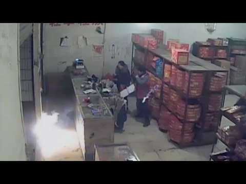 Footage: Drunk arsonist arrested for setting fire to firework shop