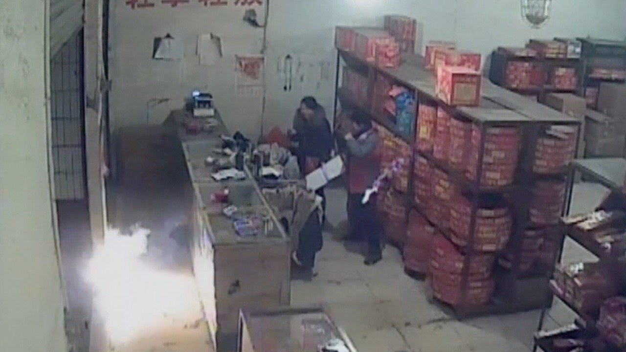 Download Footage: Drunk arsonist arrested for setting fire to firework shop