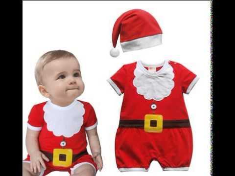 baby boys santa claus costume cotton onesie romper and hat 2 pc set skies