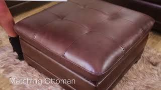 Metropolitan Top Grain Leather Sectional and Ottoman