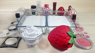 Strawberries with Cream / Mixing eyeshadow and glitter into Clear Slime
