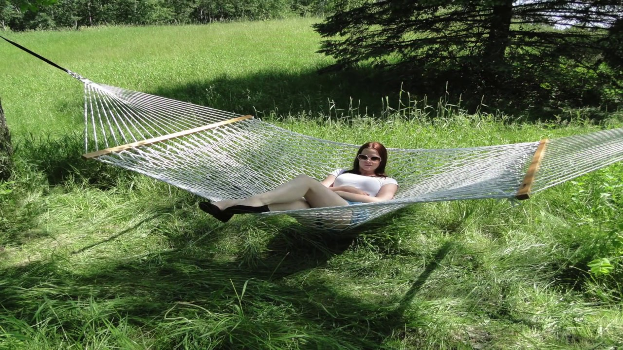 cotton rope hammock double by hammock universe youtube