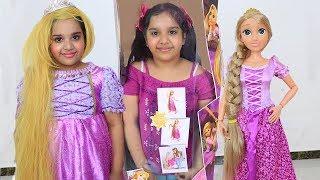 شفا تحولت إلى أميرة روبانزل!!! shfa BIG Rapunzel Doll & Kids Make Up