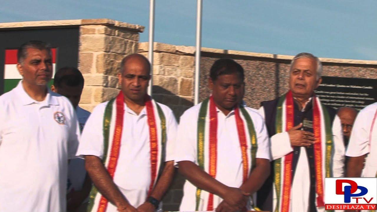 Kirthi Chamkura singing Indian National Anthem at Gandhi Jayanti celebration