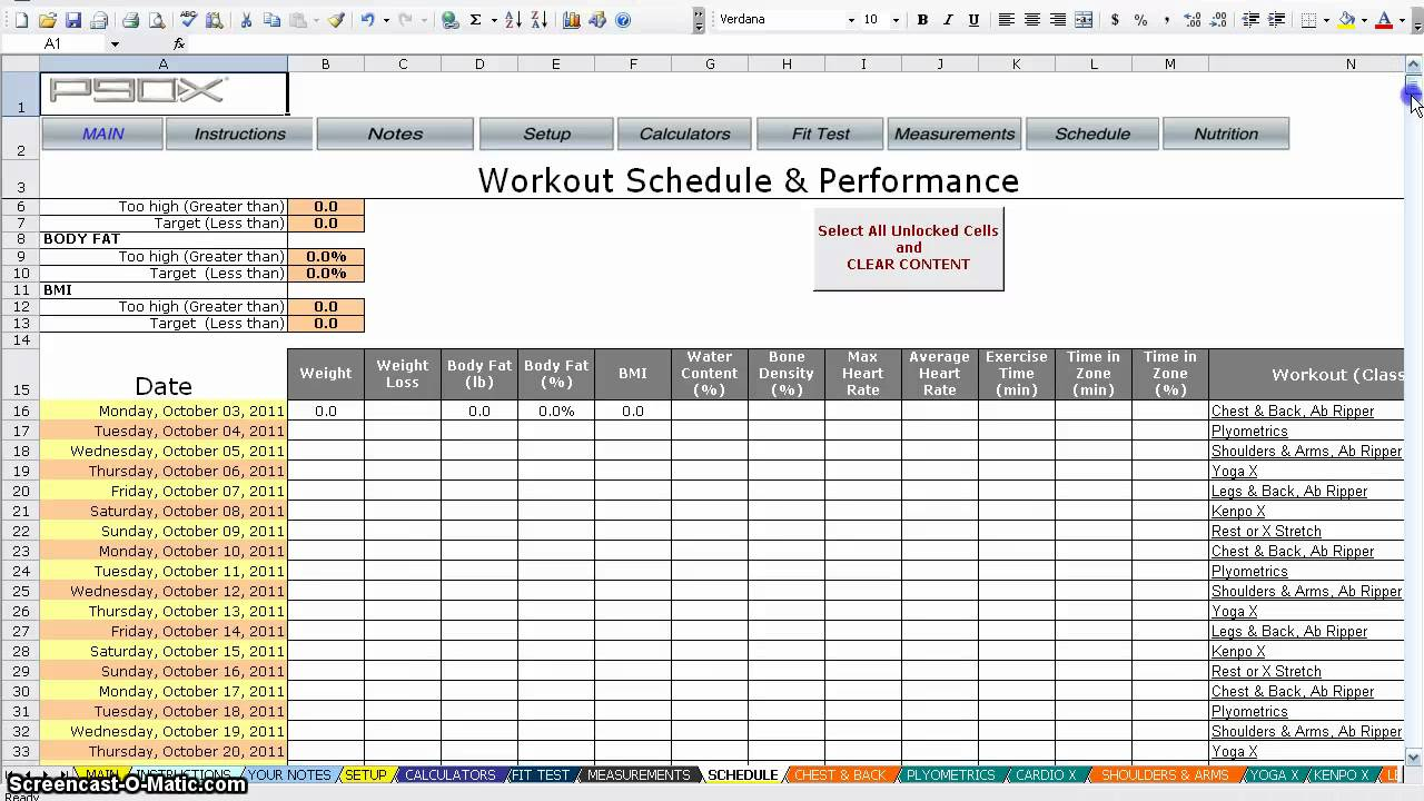 Worksheets Beachbody P90x3 Worksheets p90x worksheets youtube