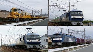 2018/05/13 JR貨物 早朝の新田踏切からロンキヤと貨物列車4本