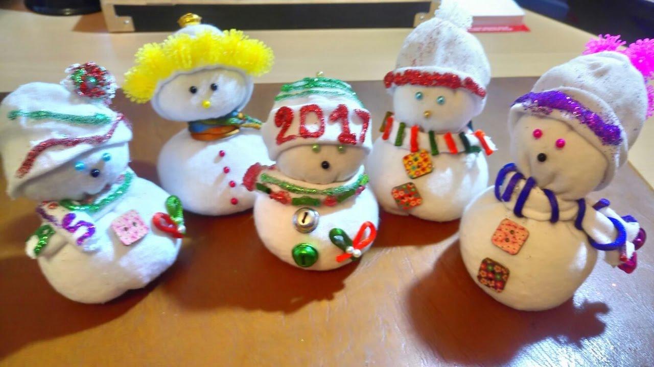 Como hacer mu eco de nieve con calcet n decoraci n - Decoracion navidena casera ...