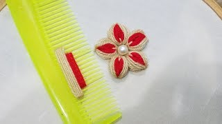 Hand Embroidery:Sewing Hacks Amazing Simple Trick For Making  Flower With Hair Comb(PART 8)