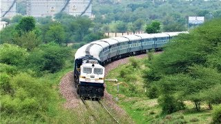 From Jaisalmer to Kathgodam 15013 रानीखेत RANIKHET Express on S Curve of Asalpur Jobner with IZN EMD