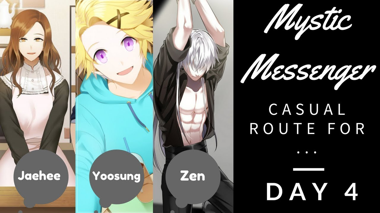 Mystic Messenger Day 4 Casual Route Zen Yoosung Jaehee Youtube