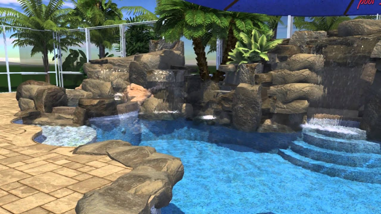 Custom pool with rock waterfall & slide - YouTube