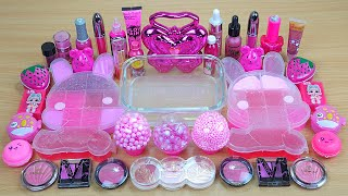 PINK SLIME Mixing makeup and glitter into Clear Slime Satisfying Slime Videos