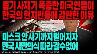총기 사재기 폭증한 미국인들이 한국의 현지반응에 감탄한 이유 마스크 안 사기까지 벌어지자 한국 시민의식 따라갈수없어 [ENG SUB]