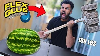 We Built DANGEROUS DIY Weapons Using Only FLEX GLUE!! *100 LBS BRICK THOR'S HAMMER*