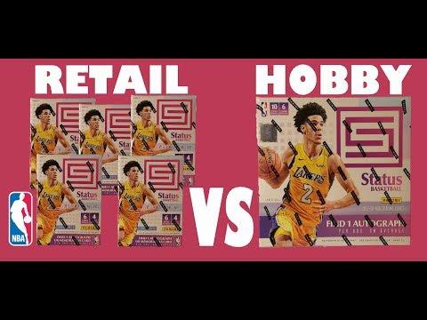 2018 Panini Status Retail vs Hobby NBA Basketball trading cards.