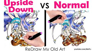 Did I FAIL? Upside Down ReDRAW OLD ART 20 years later! Old vs New vs Upside Down Art Challenge