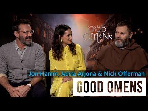 Jon Hamm, Adria Arjona & Nick Offerman Talk Good Omens   TV Insider