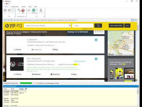 Extracting listing name, address, phone and website from Yellow Pages Egypt using WebHarvy